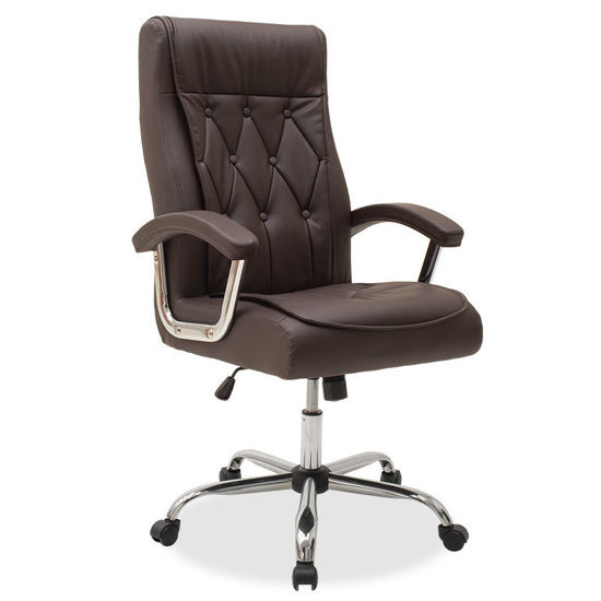 Εικόνα της Καρέκλα γραφείου διευθυντή Melvin pakoworld pu χρώμα σκούρο καφέ