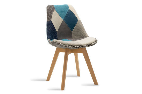 Εικόνα της Καρέκλα Gaston pakoworld ύφασμα patchwork μπλε γκρι - φυσικό