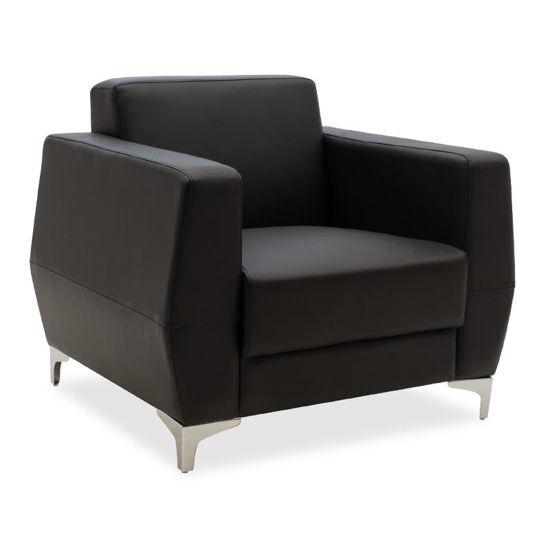 Εικόνα της Πολυθρόνα Dermis pakoworld inox-τεχνόδερμα μαύρο 88x75x75εκ