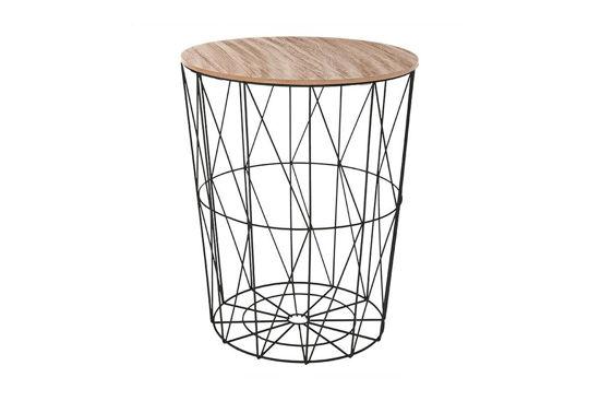 Εικόνα της Βοηθητικό τραπέζι σαλονιού Cabel pakoworld oak-μαύρο Φ47x56.5εκ