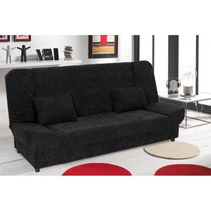 Εικόνα της Kαναπές-κρεβάτι Tiko pakoworld 3θέσιος με αποθηκευτικό χώρο ύφασμα μαύρο
