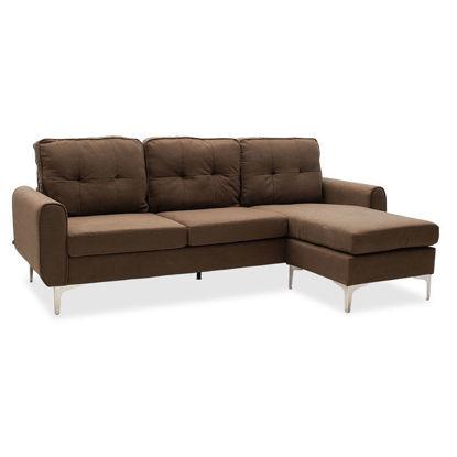 Εικόνα της Γωνιακός καναπές Ballon pakoworld αναστρέψιμος υφασμάτινος χρώμα καφέ 218x135x83,5εκ