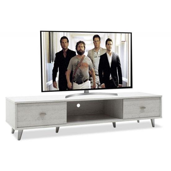 Εικόνα της Έπιπλο τηλεόρασης FIRENZE pakoworld χρώμα γκρι-λευκό 150,5x41x33εκ