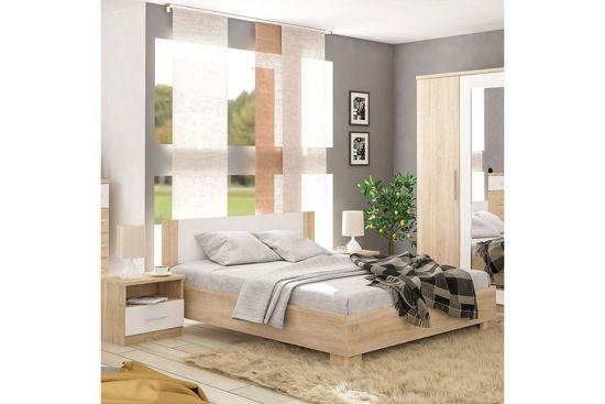 Εικόνα της Κρεβάτι διπλό Geneva pakoworld φυσικό-λευκό 160x200εκ